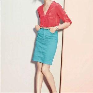 NYDJ teal pencil skirt 0P